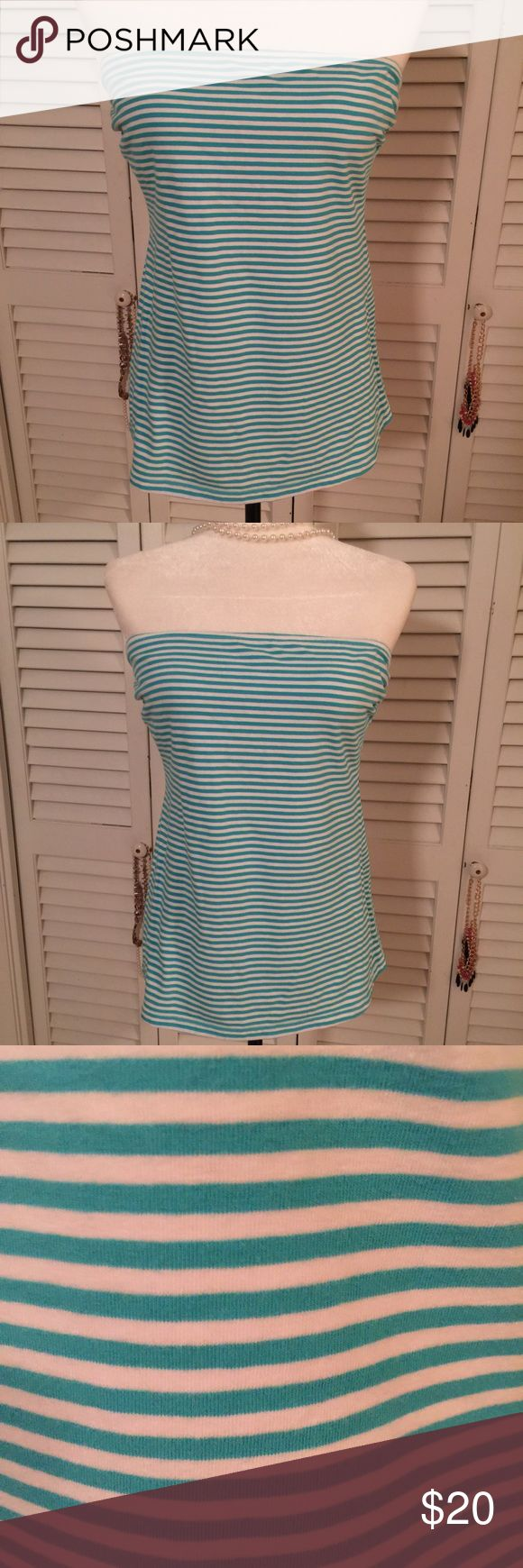 "Red Camel Strapless stripe Top Size XL EUC and beautiful!  Aqua colored stripes on white.  Size is XL.  This has a Bra made in.  Fabric shown in photo.  Bust:  32"" laying flat no stretching. Length:  19"" Red Camel Tops Tunics"