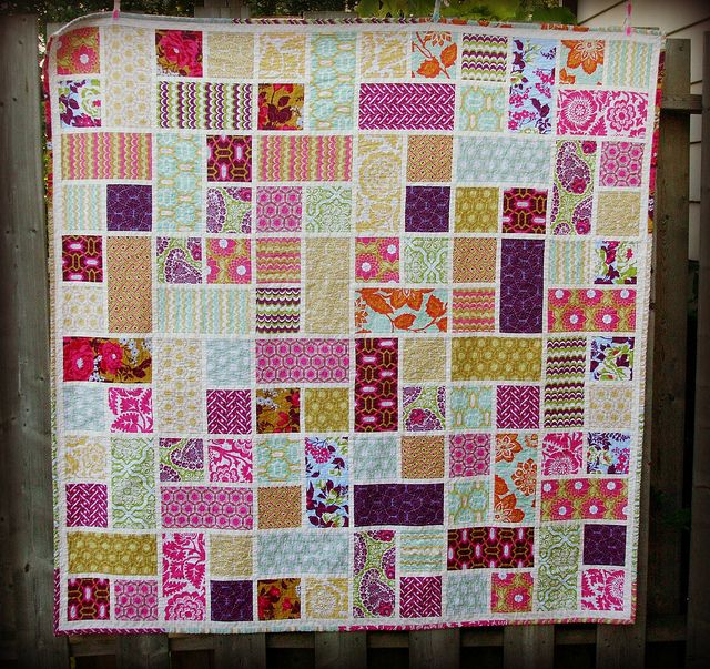 rectangle square quilt: adjusted the size of the squares to 5`inch and rectangle to 5 x 10 inch and the sashing was 1 inch cut strips.