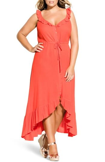 New City Chic Ruffle Trim Maxi Dress (Plus Size). Best Seller Womens fashion clo…