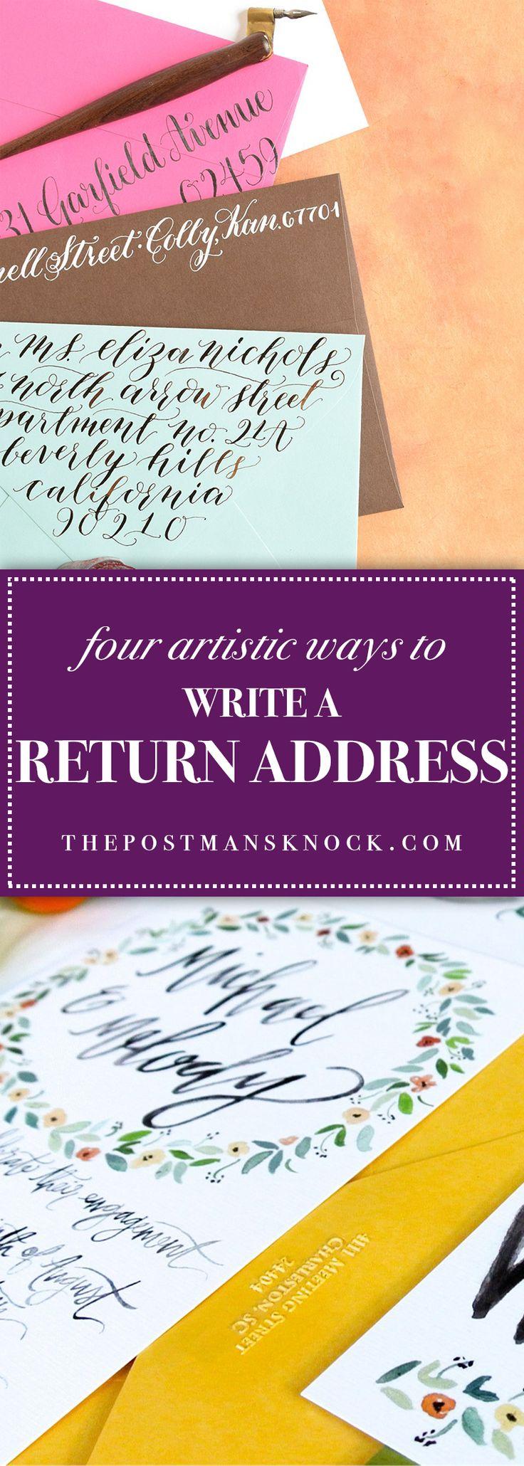 four artistic ways to write a return address  creative