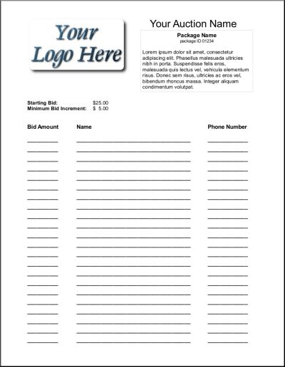 free silent auction form template