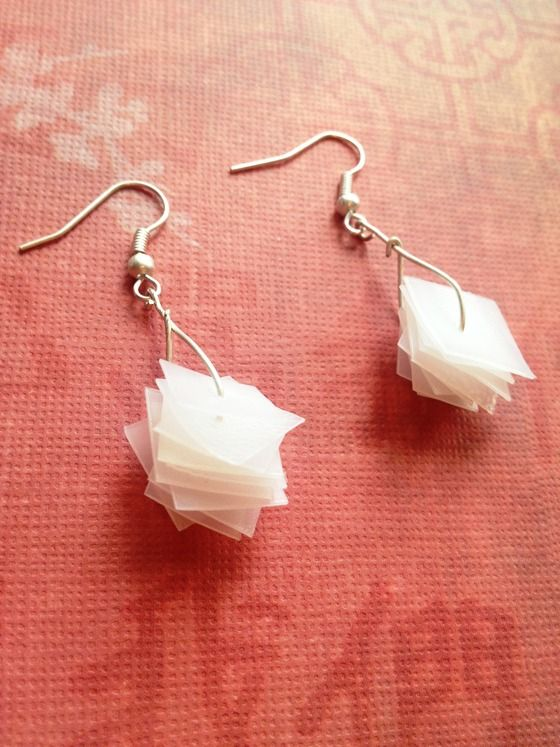 Recycled Milk Jug Plastic Dangle Upcycled Eco-Earrings - FREE SHIP & NO FEES $12.00