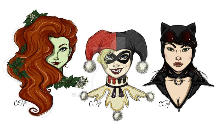Gotham Girls (Pamela, Harleen, and Selina) by ETrujillo
