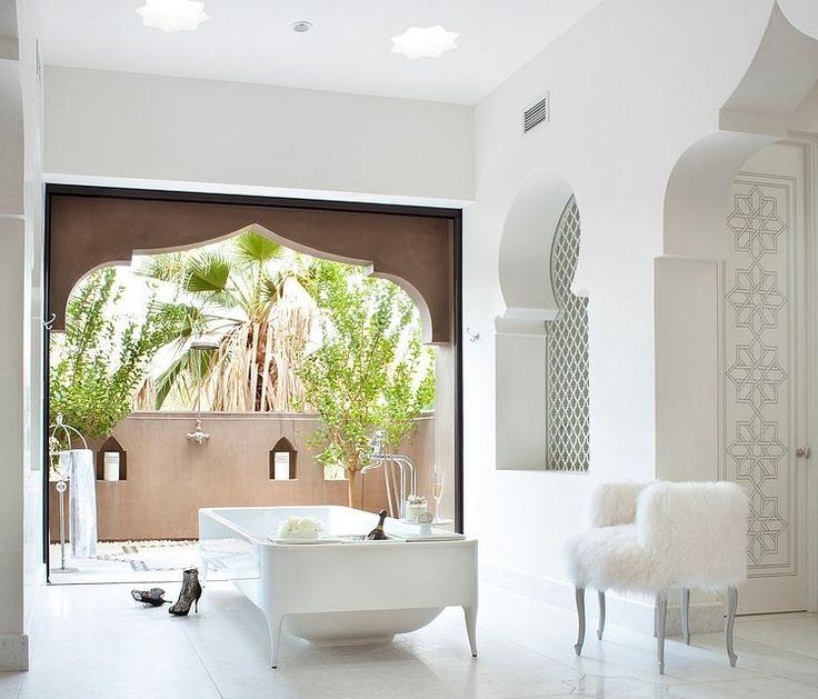 "All white bathroom at the ""Casbah Cove"" in Palm Desert designed by Gordon Stein Design"