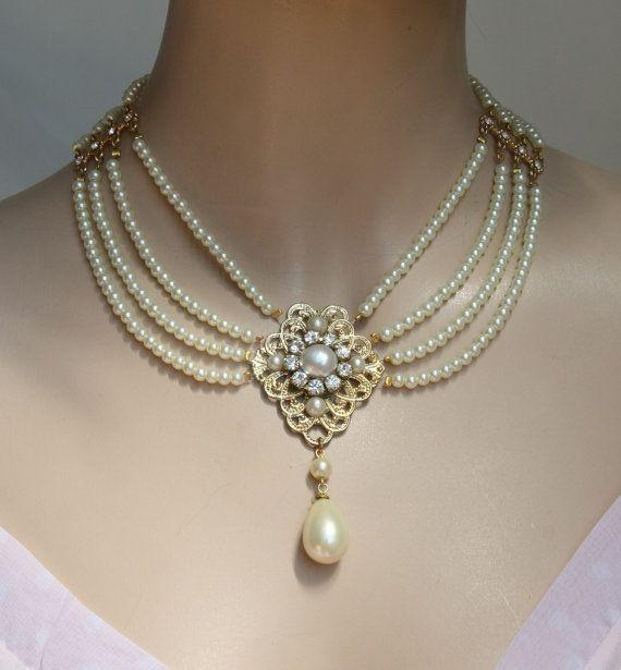 Bridal Pearl Necklace, Pearls Chocker Necklace Jewelry, Rhinestone Ivory Pearls Crystal ,Bib Collar Necklace,Weddings,Israel - TAMARI