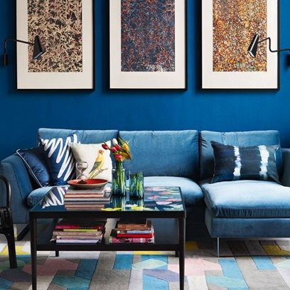 Bold Blue Living Room