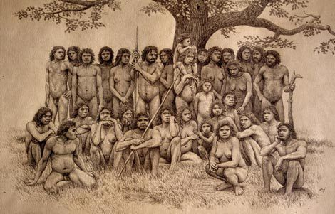 Recreation of a group of Homo heidelbergensis, based on the remains found in the Sima of the Bones.