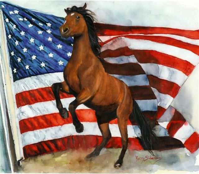 horses with american flags | sorrel horse with america
