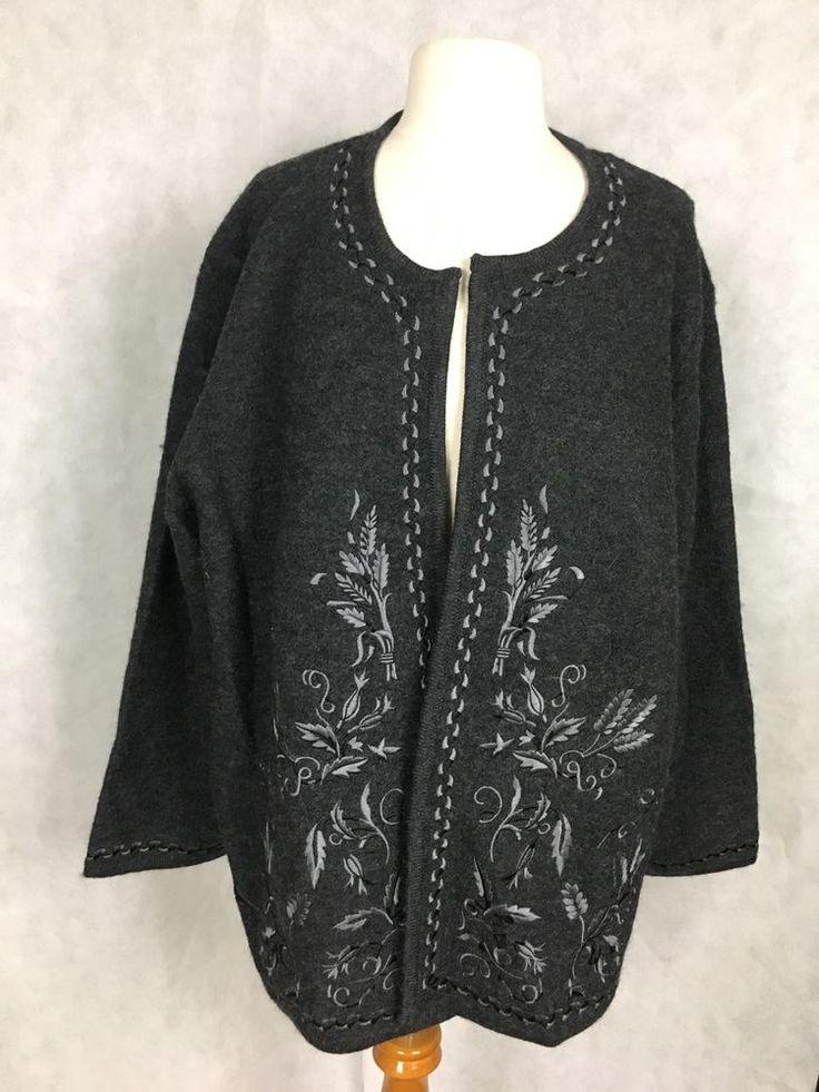 Linea by Louis Dell'Olio Embroidered Boiled Wool Jacket Size 3X  #Linea #BasicJacket