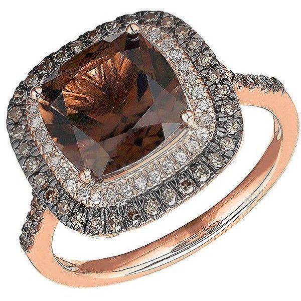 Lord & Taylor Smoky Quartz, White and  Diamond 14K Rose Gold Ring ($788) ❤ liked on Polyvore featuring jewelry, rings, brown, 14k diamond ring, 14 karat white gold ring, smokey quartz ring, fine jewelry and rose gold ring