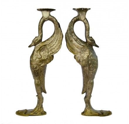 Antique French Empire Silver Bronze Furniture Support Pair, Swan Figures