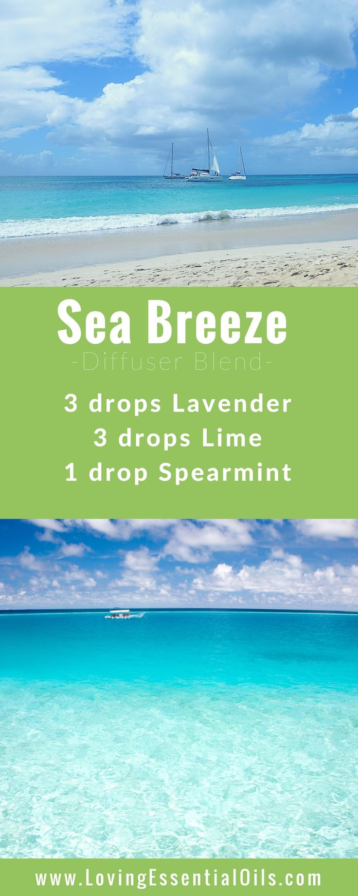 FREE GUIDE: 150 Essential Oil Diffuser Recipes You Will Love - Sea Breeze Diffuser Blend with lavender, lime and spearmint essential oils, happy diffusing! #diffuserguide #diffusingoils #diffuserblends