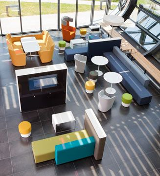 Great example of colaborative space usage. This located at Graz, Austria is Bene PARCS by PearsonLloyd.  Pinned by Gemaco Interiors