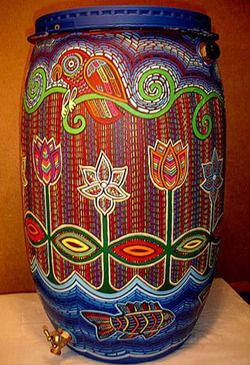 Colorful Hand Painted Rain Barrel ~ by Paula Gold