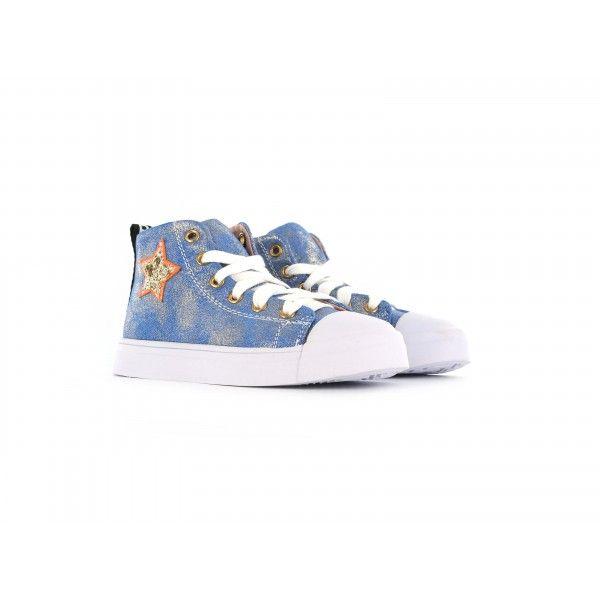 069a6e2b8b1 Blauwe shiny sneaker met ster   Kleding Fenna - Sneakers, High tops ...