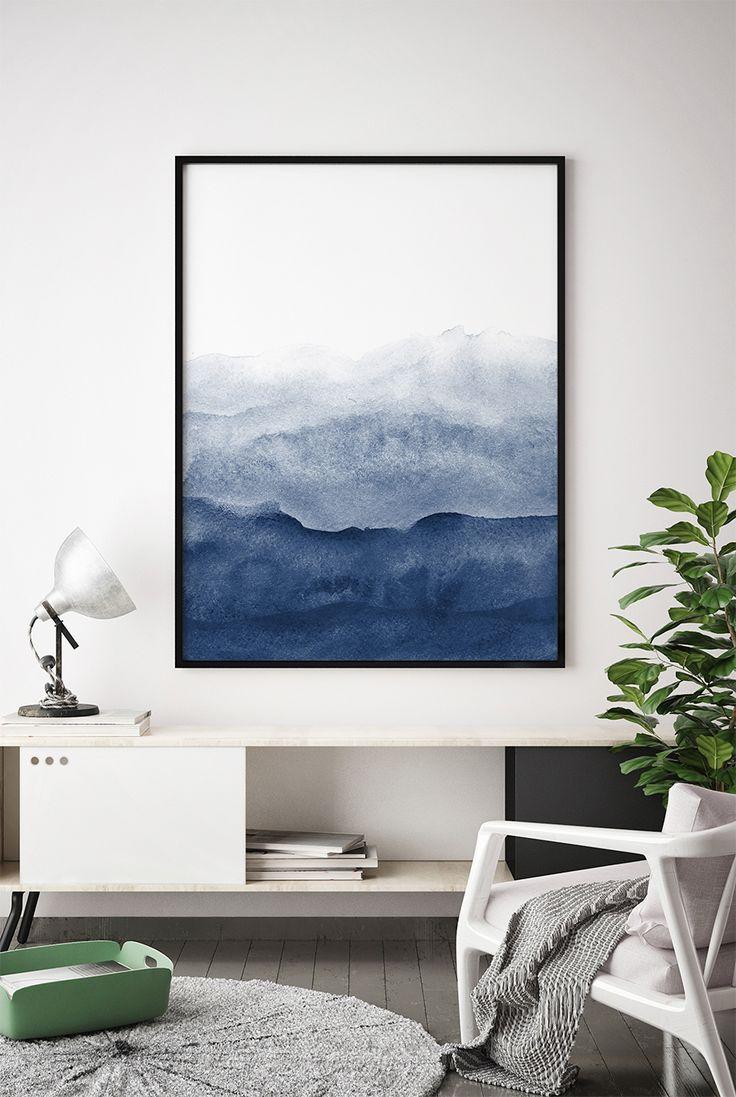 Watercolor Print, Indigo Wall Art, Watercolour Printable, Abstract Painting, Modern Minimalist, Navy Blue Decor, Dark Blue, Large Wall Art