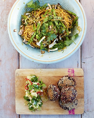 Asian style black bean burgers with noodles and salad. This looks fast and healthy. Can't wait to try it this week.