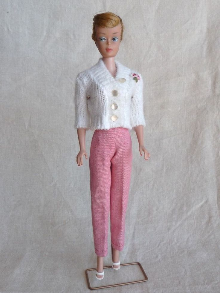 Vintage Barbie Clone White Button Sweater wi Tailored Pink Pants, Rose Embroider  | eBay