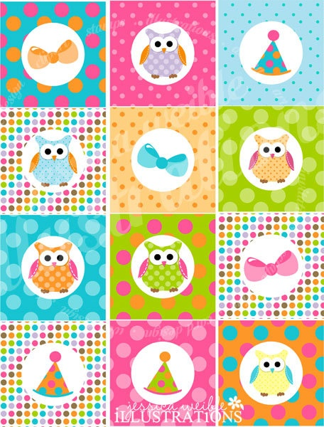 Polka Dot Owl Theme  Printable Party Tags  by JWIllustrations, $5.00