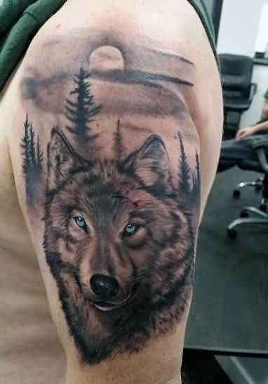 Men Shoulder Cover Up With Simple Wolf Face Tattoo Design With Forest ...