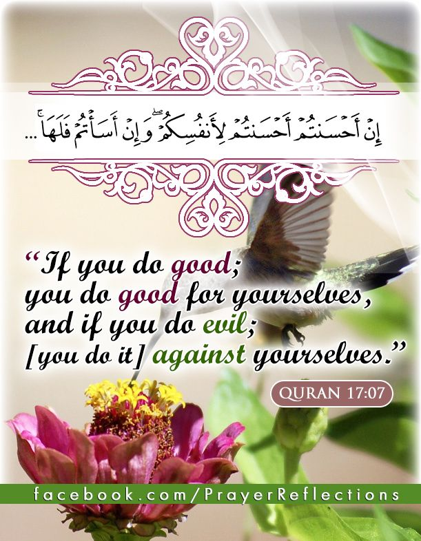 "Verses from Quran : ""If you do good; you do good for yourselves, and if you do evil, [you do it] against yourselves, ... "" #Quran 17:07 إِنْ أَحْسَنتُمْ أَحْسَنتُمْ لِأَنفُسِكُمْ ۖ وَإِنْ أَسَأْتُمْ فَلَهَا ... سورة الاسراء آية 7"