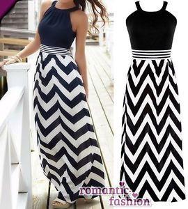 ♥Größe 34-42 Elegantes Sommerkleid Abendkleid Strandkleid Schwarz/Weiß+B493…