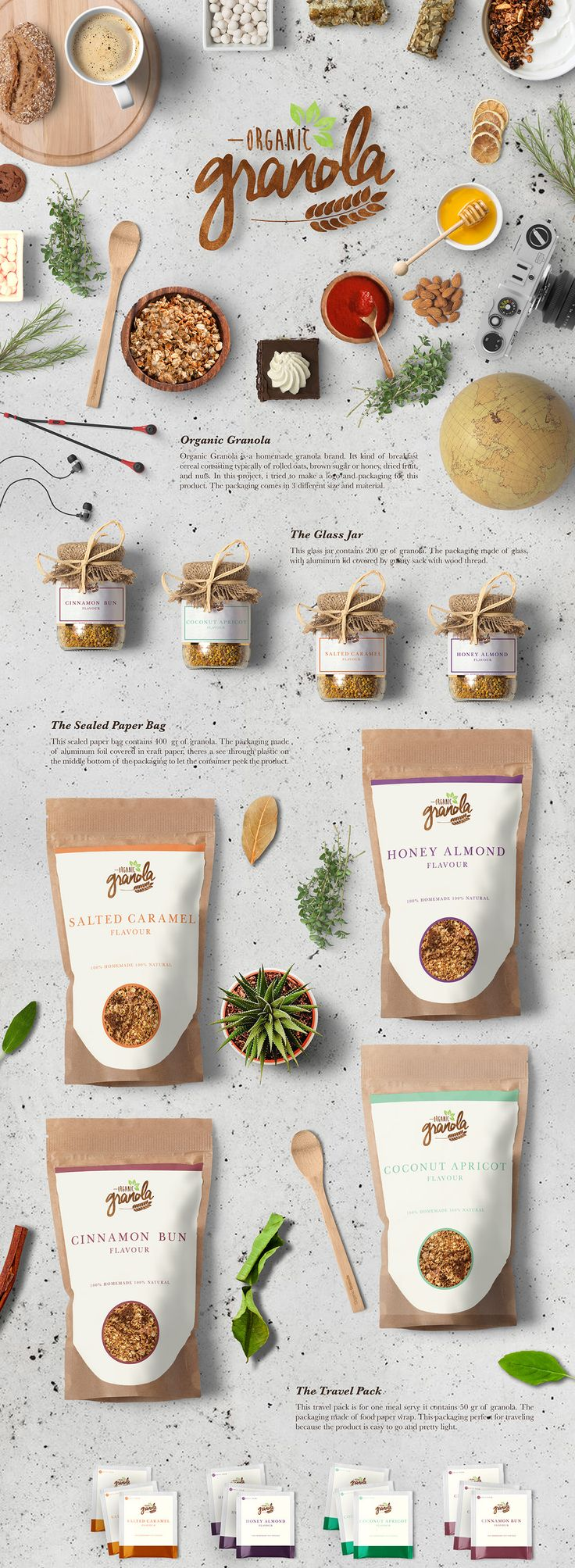 This is a branding project about a food brand. Granola is a kind of breakfast cereal consisting typically of rolled oats, brown sugar or honey, dried fruit, and nuts. The target of this brand is for young adults.