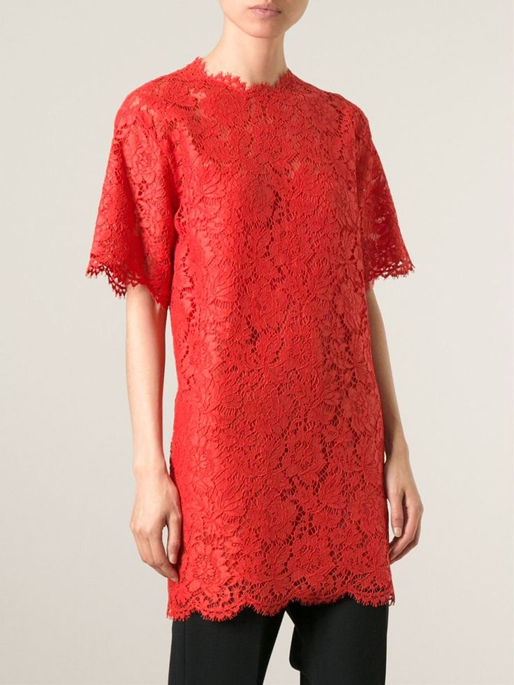 Deep orange cotton-silk blend lace top from Valentino