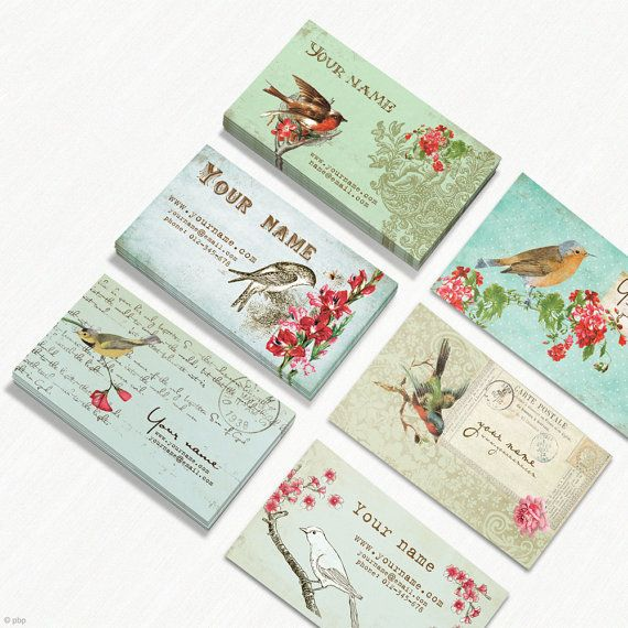 Handmade Vintage Business Cards from pixelbypixel at Etsy