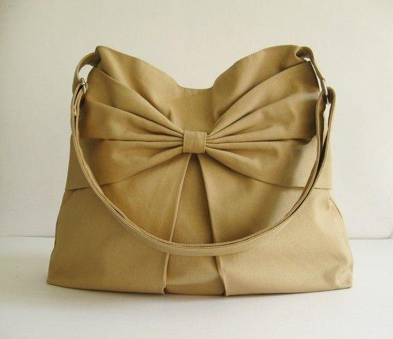 Sale  Khaki Canvas Crossbody Bag purse tote habdbag por tippythai