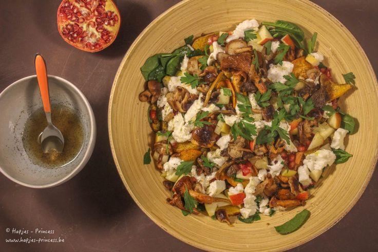herfstsalade met zoete aardappel, geitenkaas en granaatappel-2
