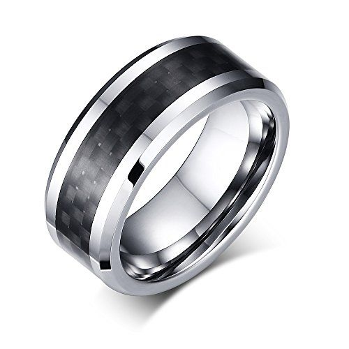 8mm High Polished Tungsten Carbide Wedding Band Rings For Men Matte Finish With Checked Pattern Size 7-12