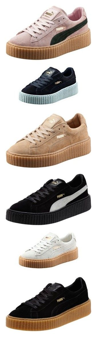 Puma by Rihanna Creepers by littlemixmakeup ❤ liked on Polyvore featuring mens fashion, mens shoes, mens sneakers, shoes, adidas, chaussure, sneakers, puma trainers, cat platform shoes and punk shoes