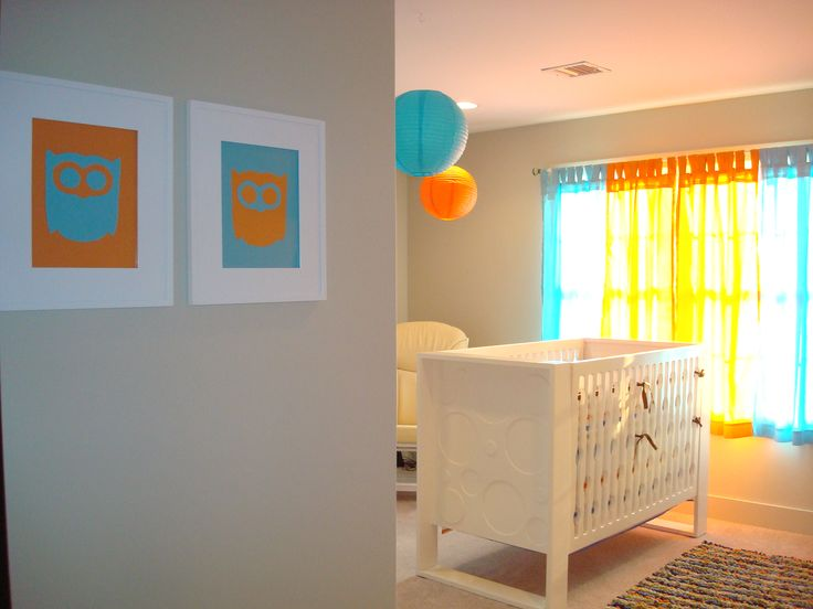 aqua and orange nursery