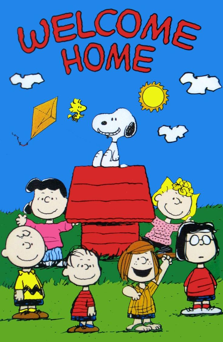 Peanuts Gang Welcome Home Flag