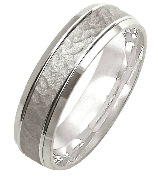 14K White gold Hammered Wedding Band | www.weddingbands.com | @Wedding Bands