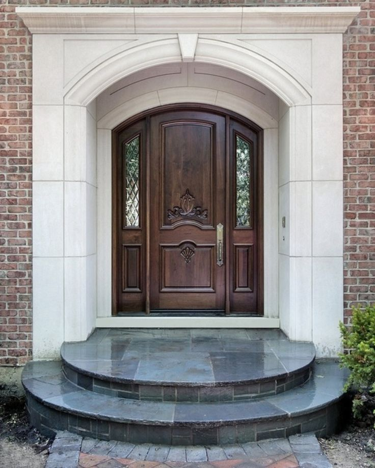 Exterior, Great Front House Decorating Idea With Awesome Dark Wood Entry  Door Plus Narrow Frosted