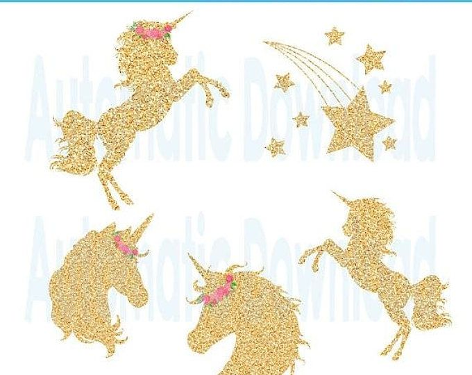Unicorn Gold Glitter Clipart, Unicorn Clipart, Unicorn Glitter, Unicorn Gold, Clipart Unicorn, Magical Day Unicorn, Star Clipart, Star Gold