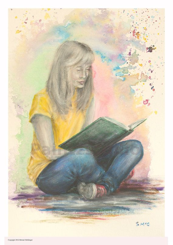 Woman painting girl reading book water colour by Paintzstudio