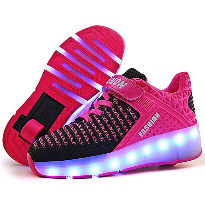 AIkuass Roller Shoes for Girls USB Rechargeable LED Light Up Roller Sneakers Wheel Shoes Skate Shoes for Kids
