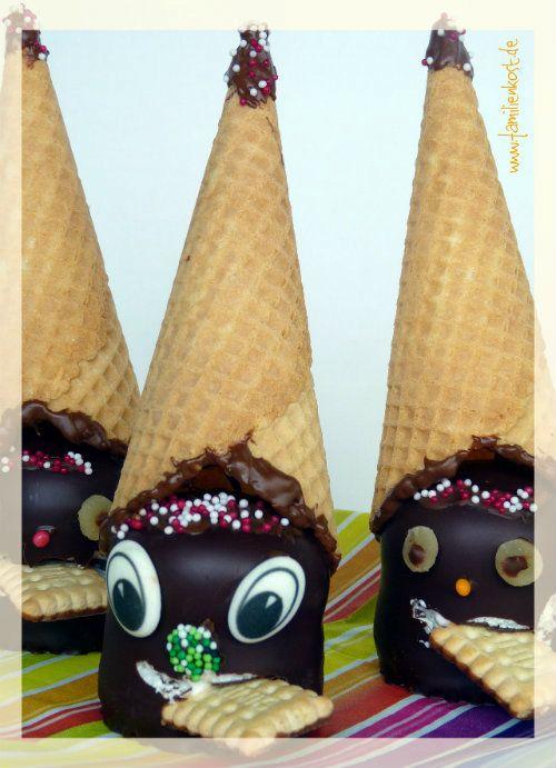 Süße Schokokuss-Zwerge zum Fasching schmecken nicht nur Kindern gut. Auch an anderen Tagen als an Fastnacht sind sie ein lustiges Essen und eignet sich auch zum Kindergeburtstag im Kindergarten