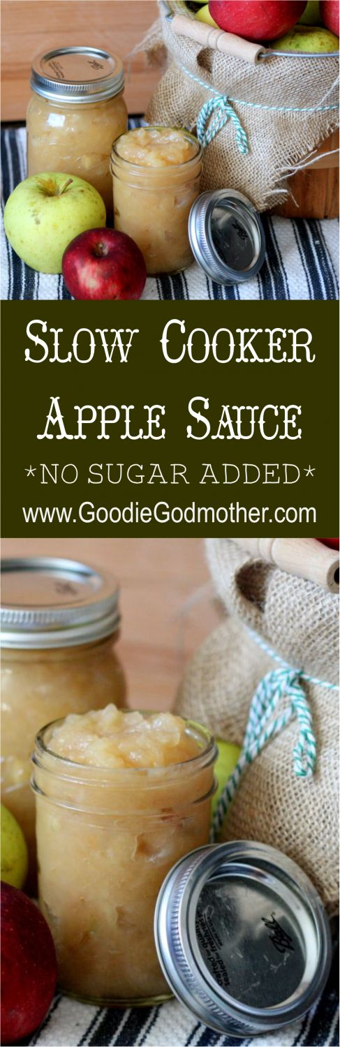 Slow Cooker Apple Sauce Recipe with NO SUGAR added! So easy to make and healthy! * Recipe on GoodieGodmother.com