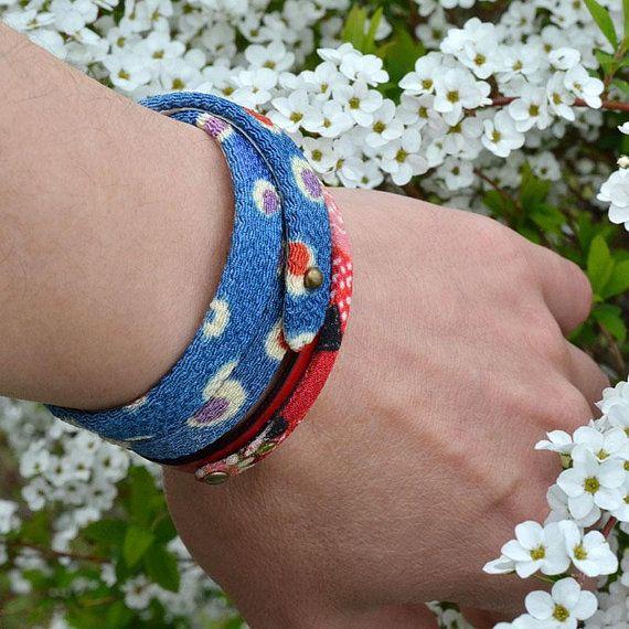 Japanese jewelry. Kimono. Leather wrap bracelet. Blue. Womens. Mens. Amulet. Japanese clothing. Birthday gift. Made in Japan