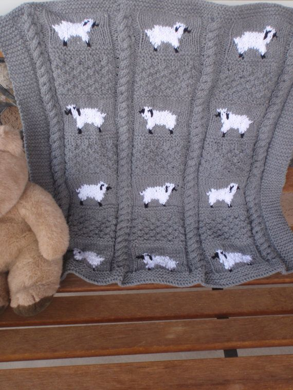 Hand knitted gray baby blanket with sheep/knitted by susansworld