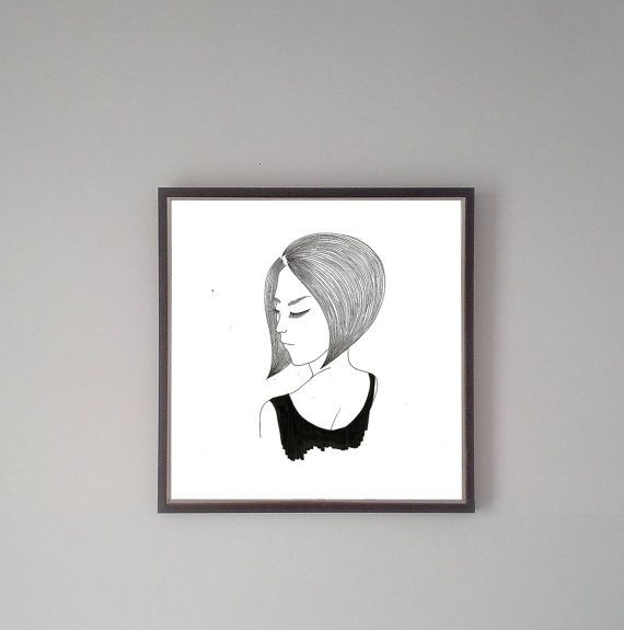 On hair-Handmade original illustration by Forkindio on Etsy
