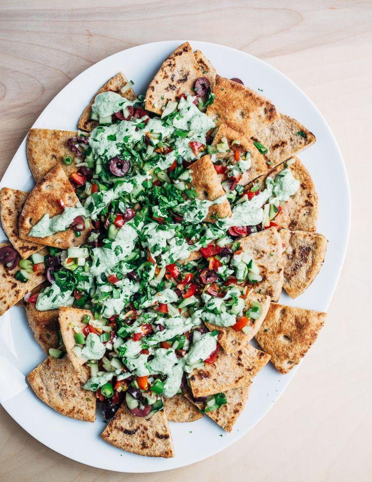 vegan greek-style pita nachos // brooklyn supper