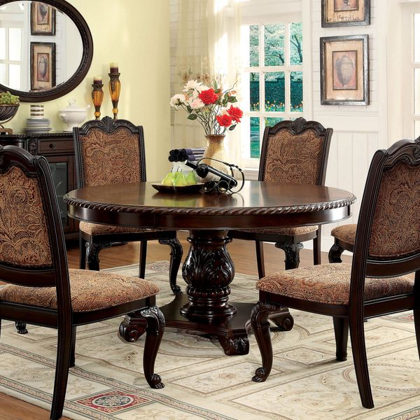 Furniture of america oskarre brown cherry round dining for Dining table set deals