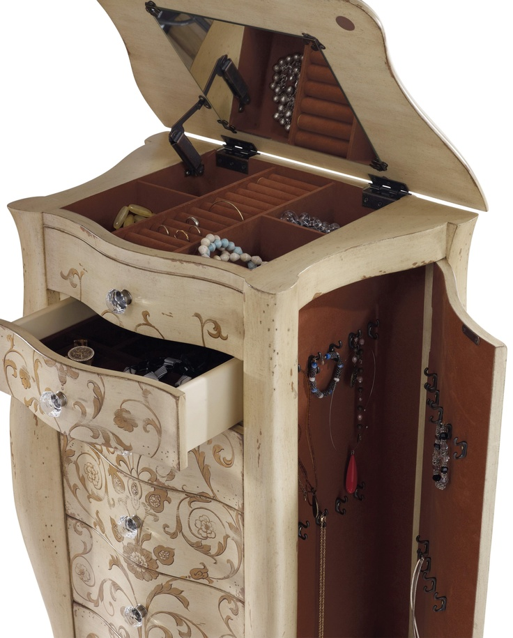 Mélange Phoebe Hand Painted Bombe Jewelry Armoire with Lift Lid and Mirror by Hooker Furniture -