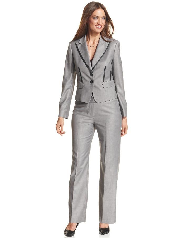 Nine West Petite Suit, Trimmed Jacket & Pants - Womens Petite Suits & Separates - Macy's