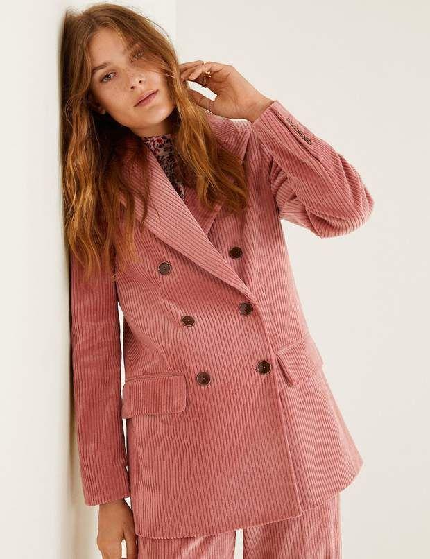 Veste rose velours côtelé Zara | Blazer velours côtelé